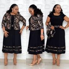 Hgte 2 peças define primavera outono dashiki vestidos africanos para as mulheres nova chegada feminino impressão 4xl 5xl plus size poliéster vestido