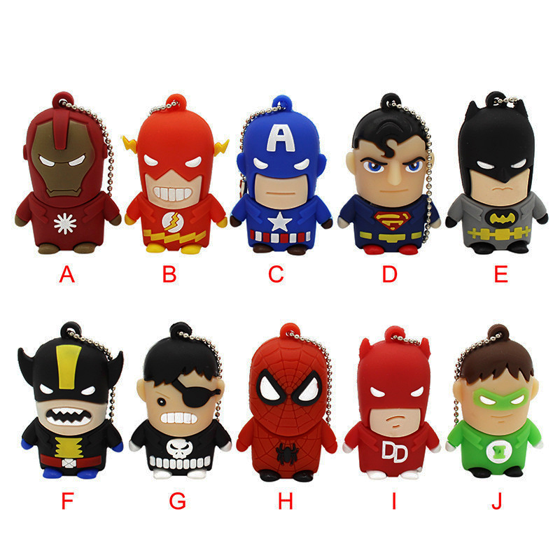 KING SARAS Usb2.0 Superman Batman Spiderman Captain America 10 Model USB Flash Drive Pendrive 4GB 8GB 16GB 32GB Cartoon Pendrive