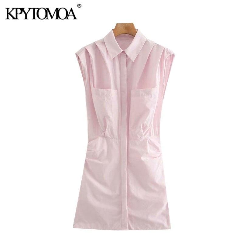 KPYTOMOA Women 2020 Chic Fashion Side Gathered Pockets Mini Dress Vintage Sleeveless Pleated Shoulders Female Dresses Vestidos