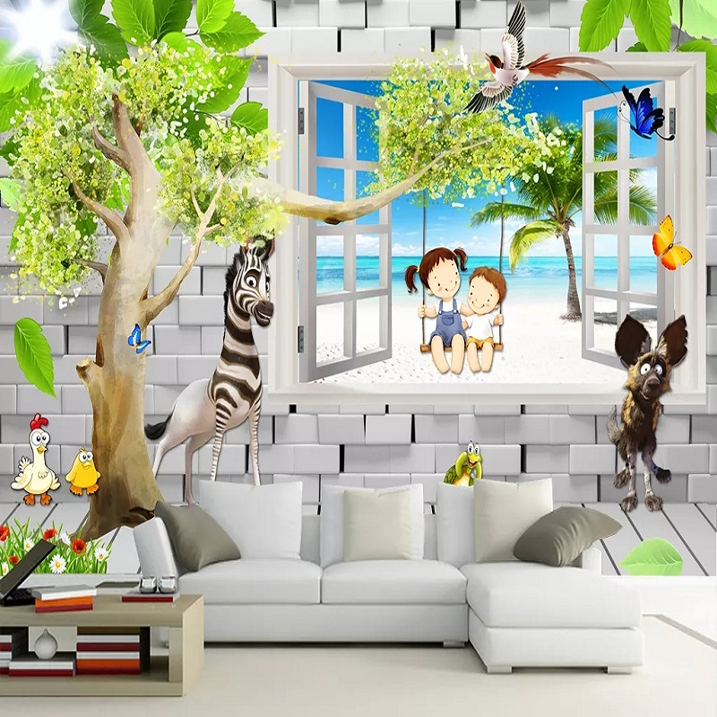 New Custom Large Mural 3d Wallpaper Cute Nordic Boy Girl Cartoon Child Bedroom Mural Tv Back Wall Decor Deep 5d Embossed Wallpapers Aliexpress