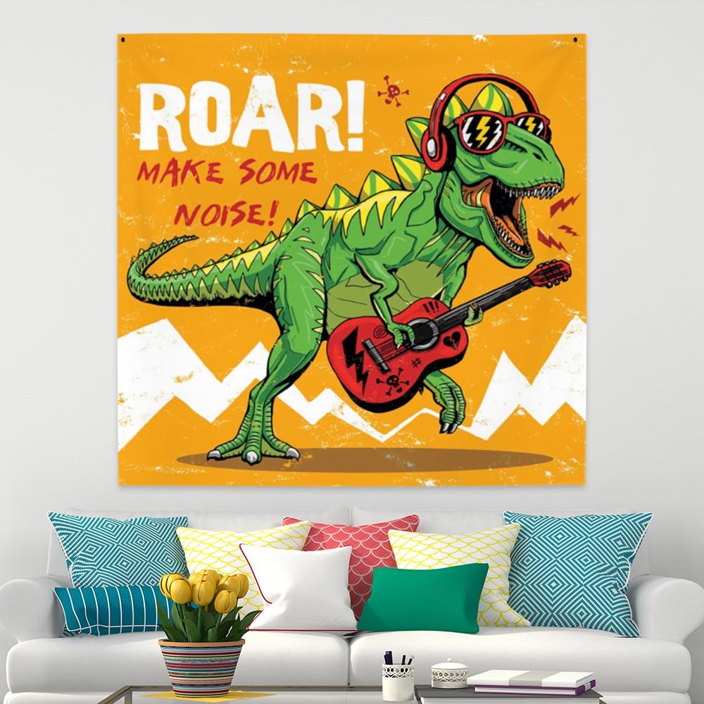 Wall Carpet Dj Anime Dinosaur Tapestry Hanging Animal Tapestry Jurassic Polyester Fabric Kid Bedroom Decor Hippie Wall Blanket Leather Bag