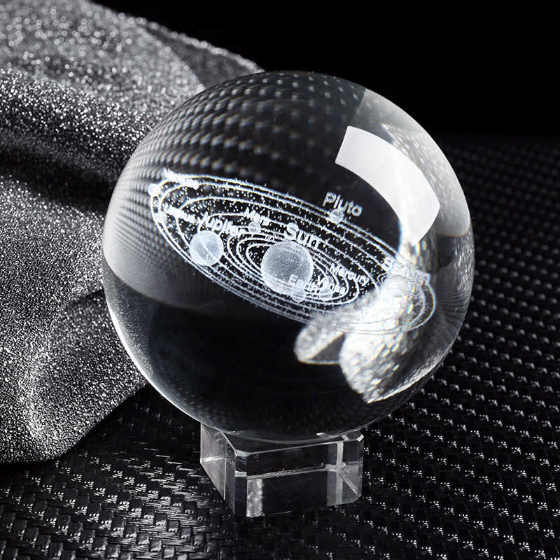 Hệ Mặt Trời Bức Tiểu Họa Các Bức Tượng Nhỏ 3D Hành Tinh Mô Hình Quả Cầu Phong Thủy Quả Cầu Pha Lê Trang Trí Trang Trí Nhà Tặng Cho Kỳ Nghỉ