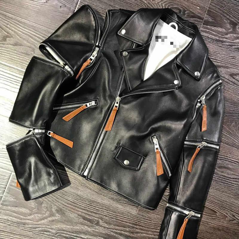 RR карманы пальто Женская мода импортная Новая Зеландия овчины куртки женские элегантные на молнии мото пальто женские Дамские HM