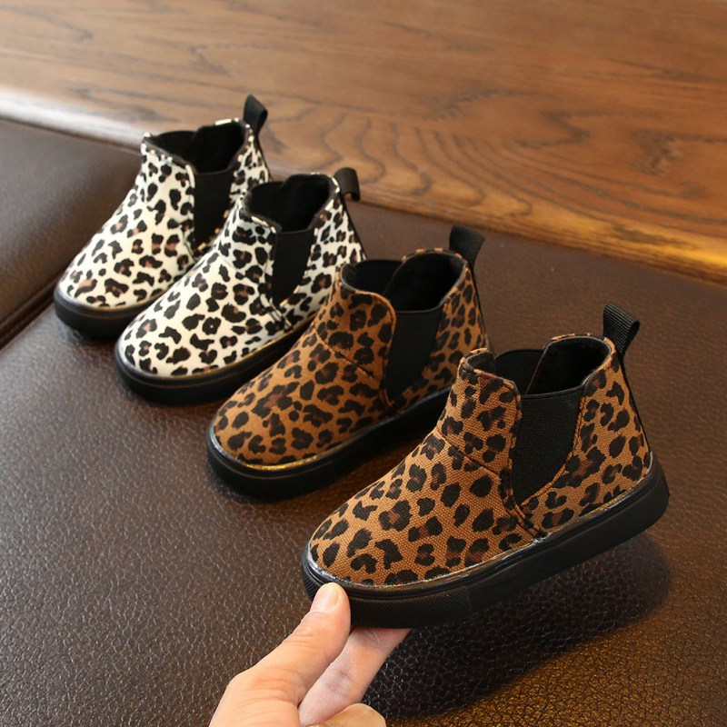 New Kids Boots Fashion Winter Boys Girls Snow Boots Children Martin Boots Baby  Leopard Pattern Anti-slip Walking Shoes