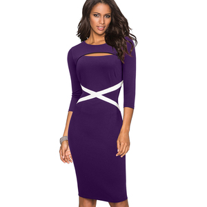 Image 5 - Nice forever Vintage Elegant Contrast Color Patchwork Hollow Out Work vestidos Business Party Bodycon Office Women Dress B490