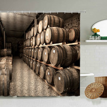 Деревянный винный погреб дубовая душевая занавеска с принтом виноград вино аксессуары для ванной комнаты с крючком водонепроницаемый ткан...