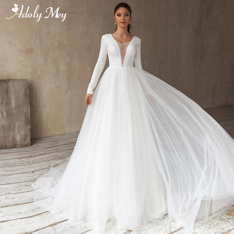 Adoly Mey Luxury Scoop Neck Beaded Long Sleeve A-Line Wedding Dresses 2020 Sexy Backless Tulle Court Train Vintage Bridal Gown