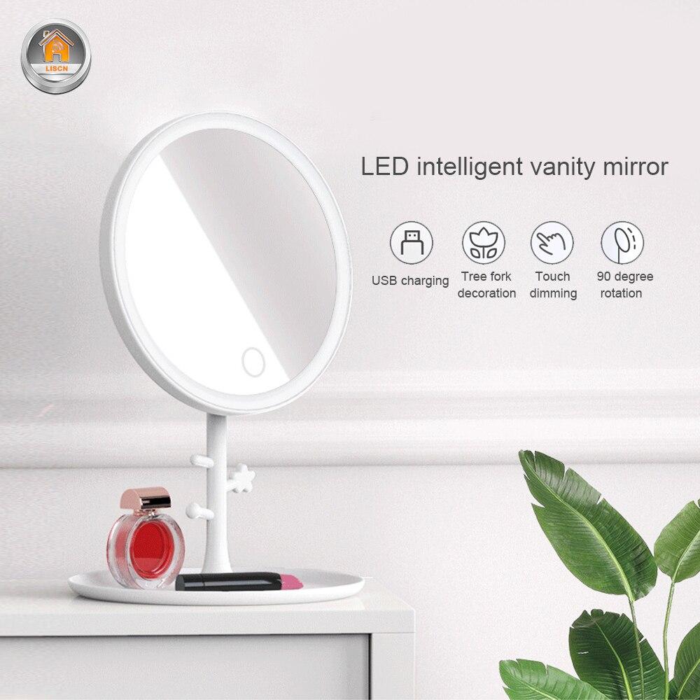 Зеркальный светодиодный умный сенсорный экран, зеркальный светильник для макияжа, Настольный светильник с регулируемой яркостью, Ночной с