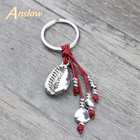 Anslow Charms Retro Metal Handmade DIY Sea Shell Leather Keychains Key Ring For Female Bag Door Car Key Accessories LOW0017KY