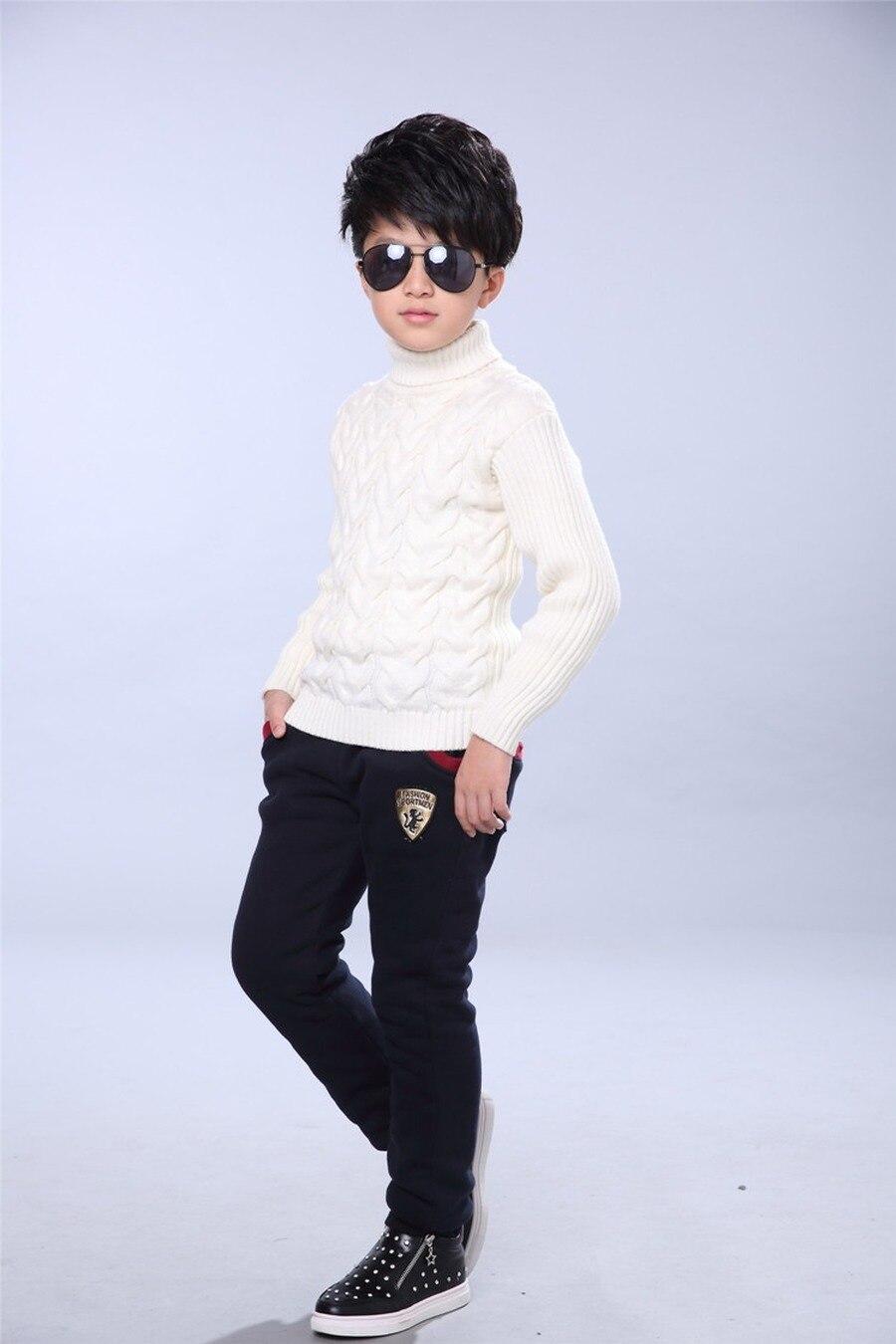 Winter Pants for Boy Kids Warm Thick Fleece Fur Lining Leggings Sport Trousers 4Y-14Y Teen Boys Straight Full Leggings Joggers 6