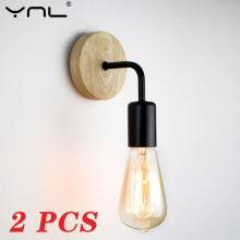Retro Vintage Light-Fixture Sconce Nordic-Wood-Wall-Lamp Bedroom Indoor-Lighting Home-Wall