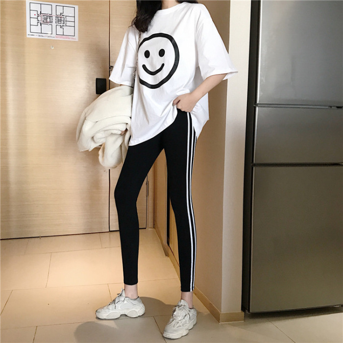 2019 Summer New Style Fashion Casual WOMEN'S Suit Loose-Fit Large Smiley Short Sleeve T-shirt + Outer Wear Skinny Leggings