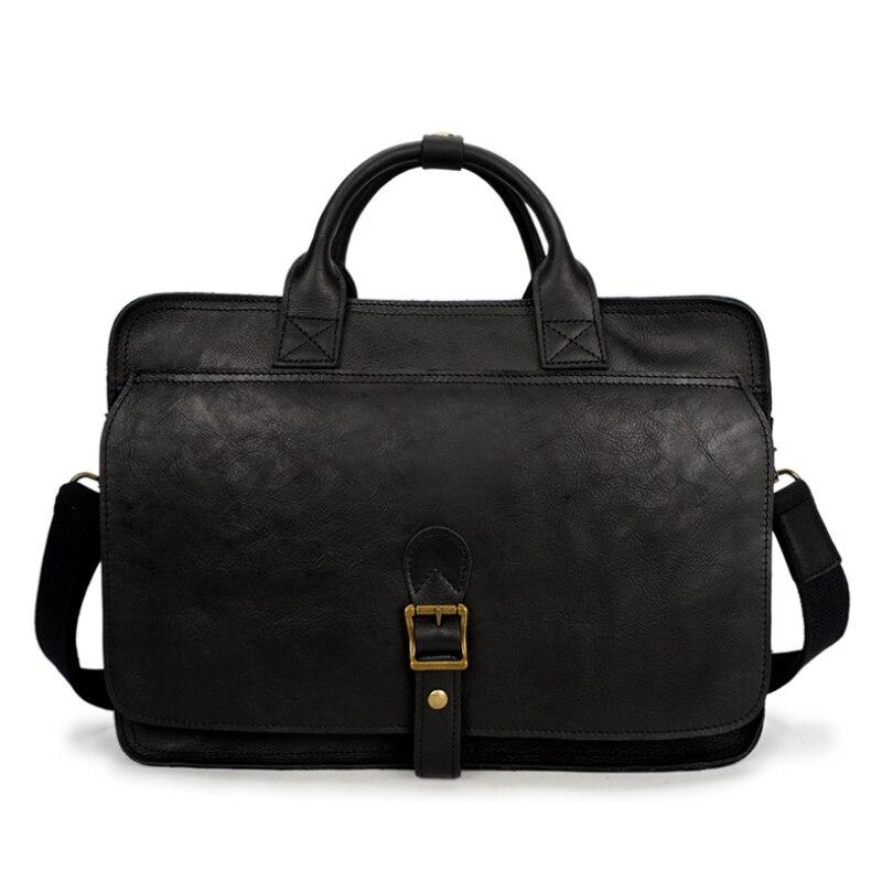 MAHEU Handmade Black Genuine Leather Briefcase Of Men 100% Real Cowskin Handbags Male Shoulder Bags Functional Business Bag