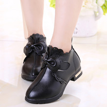 Дети Девочки Сапоги Мода Бант бабочка принцесса обувь для девочки из искусственной кожи короткие тонкие сапоги Теплые Зимние ботиночки