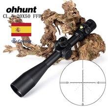 การล่าสัตว์Ohhunt CL 5 20X50 FFP First Focal Plane Riflescopeด้านข้างParallaxแก้วแกะสลักReticleล็อครีเซ็ตขอบเขตระดับฟองสบู่