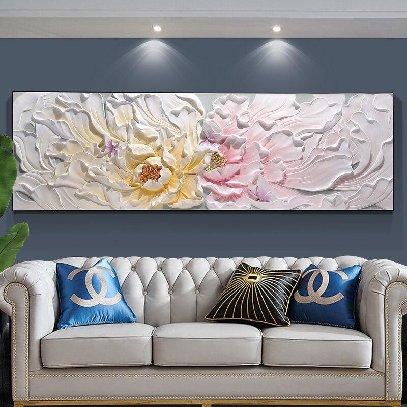 Bloem open woonkamer sofa achtergrond muur reliëf schilderij 3d driedimensionale gunstige horizontale schilderen