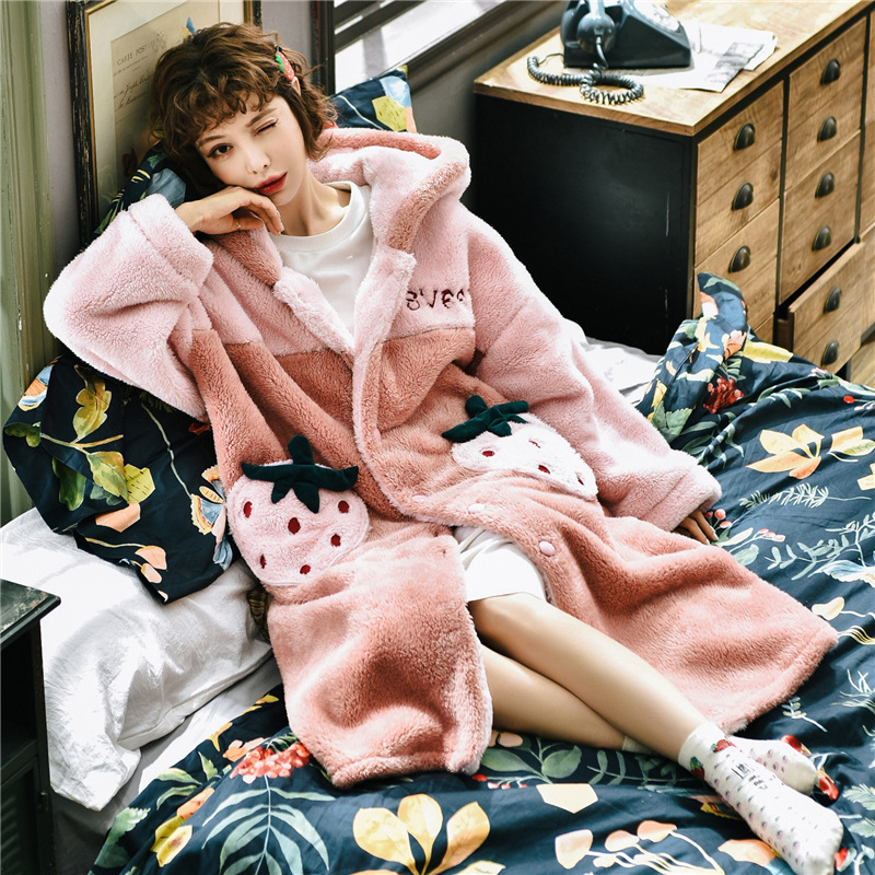 Pajama Women's Autumn Winter New Flannel Long Sleeve Thickened Loose Robe Bathrobe Coral Wool Long Home Wear