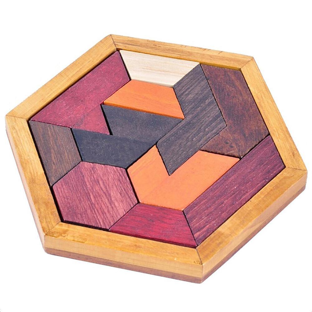 HobbyLane Wooden Tangram Jigsaw Puzzles With Hexagonal Base Brain Teaser Intelligence Toy Gift For Kids Adult