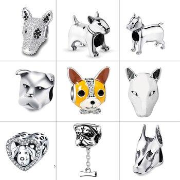 Strollgirl 925 Sterling Silver Beads Loyal Partners French bulldog Doggy Animal Charms fit Women Charm Bracelets Dog DIY Jewelry