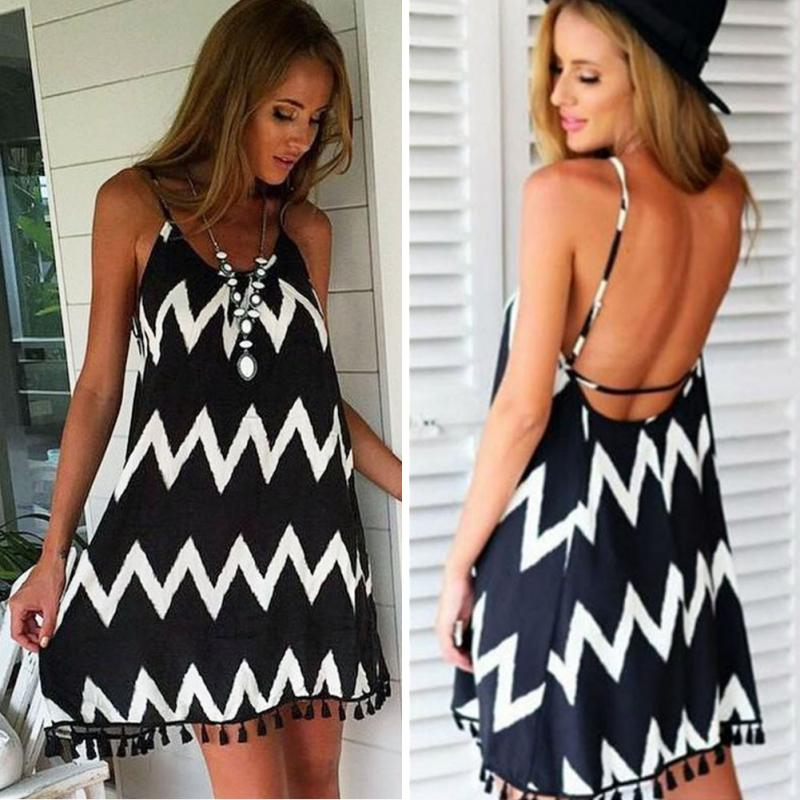 Women Swimsuit Plus Size Women Beach Dress Loose Wavy Sexy Backless Sling Chiffon Dress Summer Women Beach Dress Bikini Cover Up