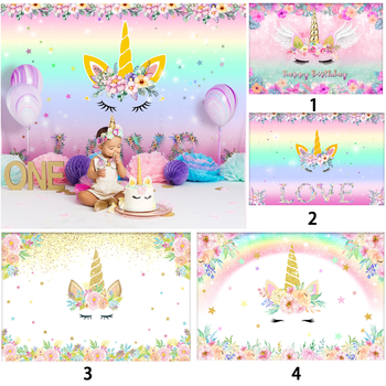 5x3FT Unicorn Backdrop Pink Floral Photography Background Theme Birthday Party Decoration Photo Booth