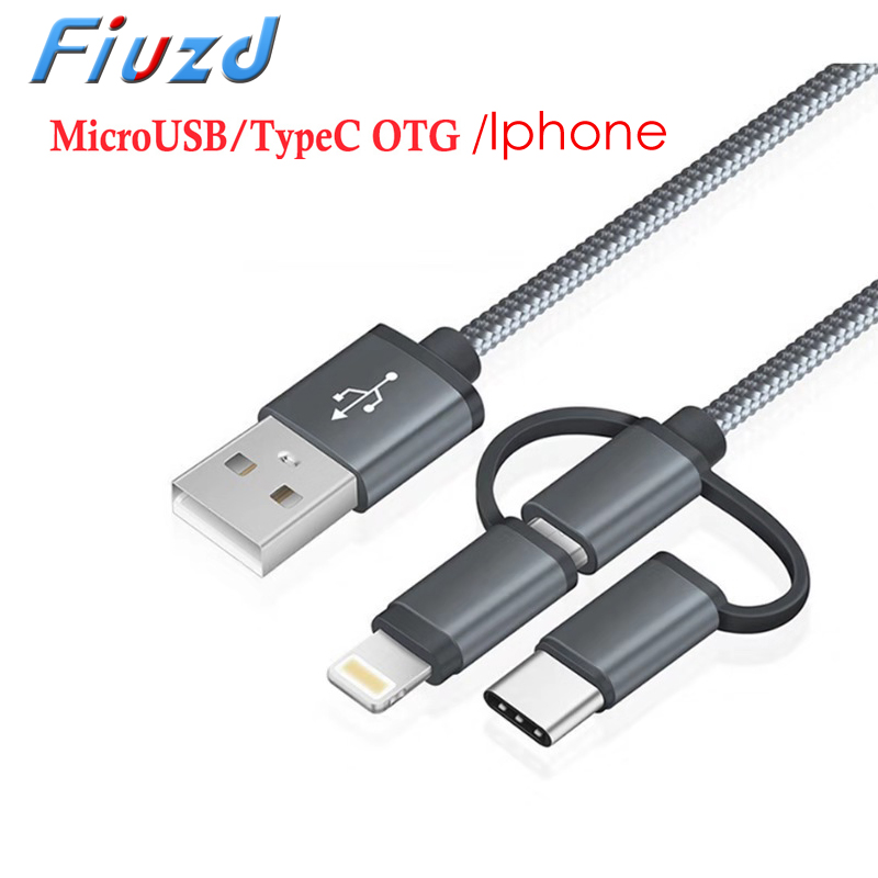 3 In 1 USB 3.0 OTG Cable Type C Micro Usb To USB3.0 Adapter USB-C Data Transfer Cable For Samsung Type-C Phone For Iphone Phone