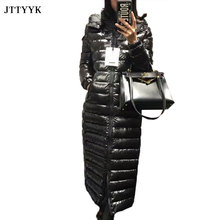 High Quality 2021 Winter Jacket Womens Warm Parkas X-Long Black Puffer Jacket Thicken Winter Coat woman 90% Duck Hooded Overcoa
