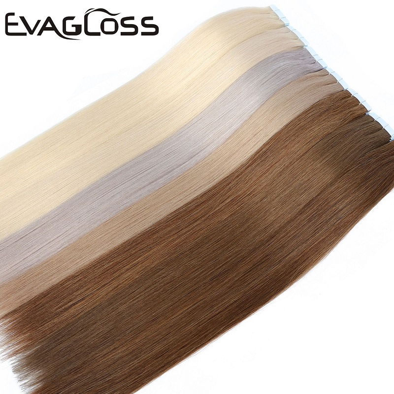 EVAGLOSS Skin Weft Machine Remy Tape In Human Hair Extensions 20pcs 40pcs 80pcs Adhesive Double Sided Tape In Hair Extensions