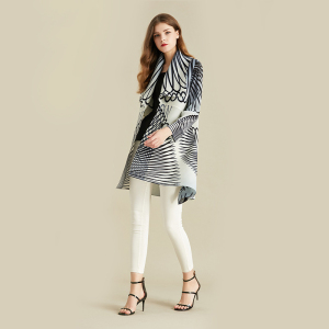Image 2 - LANMREM White Stripe Long Sleeve Large Lapel Pleated Woman Cardigan Thin Jacket Casual Simple Fashion 2020 autumn Coat New TV586