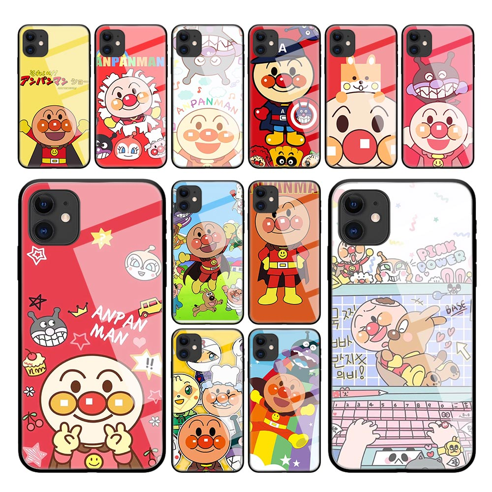 Cartoon <font><b>Anpanman</b></font> Cute <font><b>Case</b></font> for <font><b>iPhone</b></font> 11 Pro Max X XS XR 8 7 6 6S Plus Tempered Glass Black Edge Coque Phone Cover image