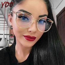 YDO New Round Glasses Frame Women Oversized Clear Lens Optical Transparent Fashion Ladies Eyeglasses TR90 Eyewear