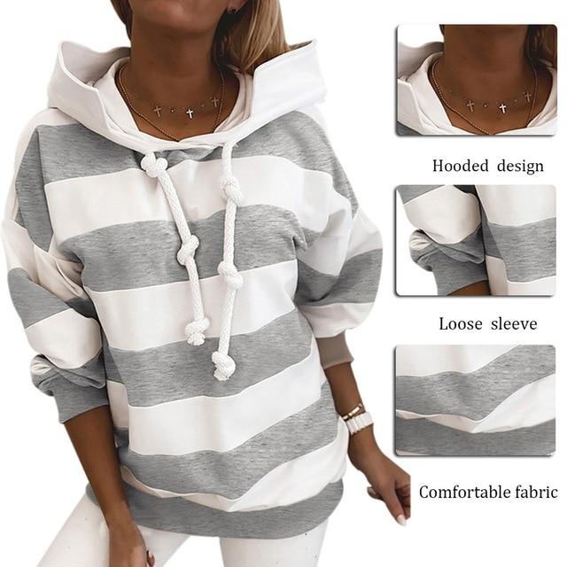 Женский свитшот с длинным рукавом повседневный Полосатый пуловер