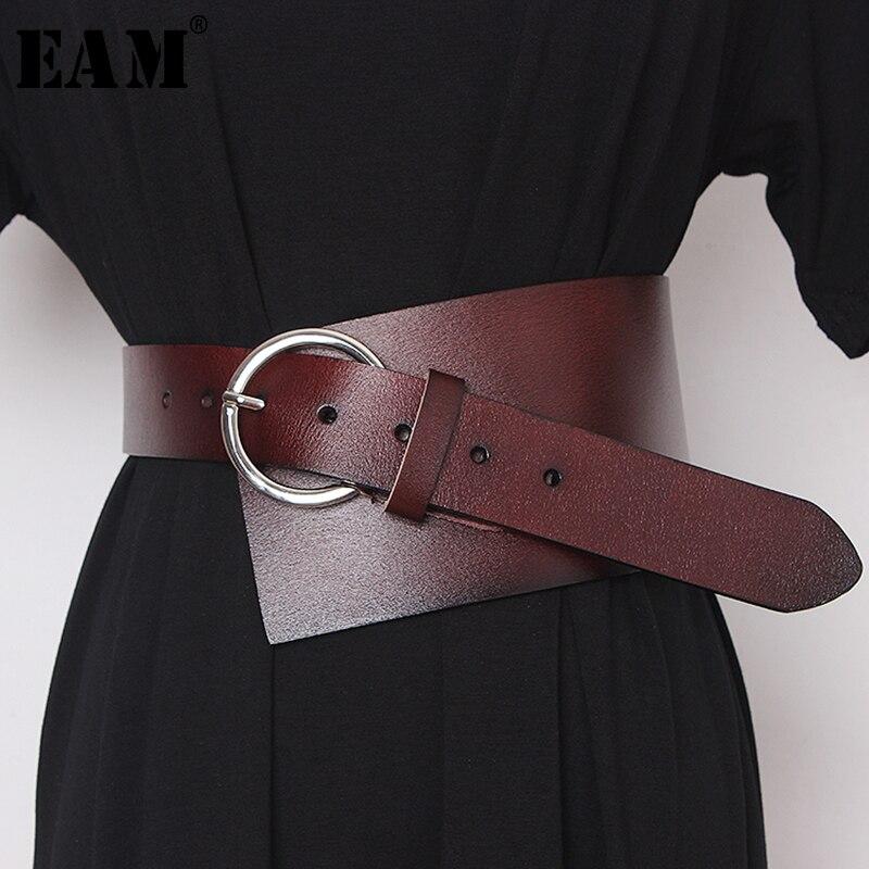 [EAM]  Pu Leather Asymmetrical Split Wide Long Belt Personality Women New Fashion Tide All-match Spring Autumn 2020 19A-a489