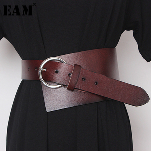 Image 1 - [EAM]  Pu Leather Asymmetrical Split Wide Long Belt Personality Women New Fashion Tide All match Spring Autumn 2020 19A a489