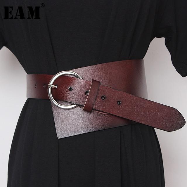 [EAM]  Pu Leather Asymmetrical Split Wide Long Belt Personality Women New Fashion Tide All match Spring Autumn 2020 19A a489