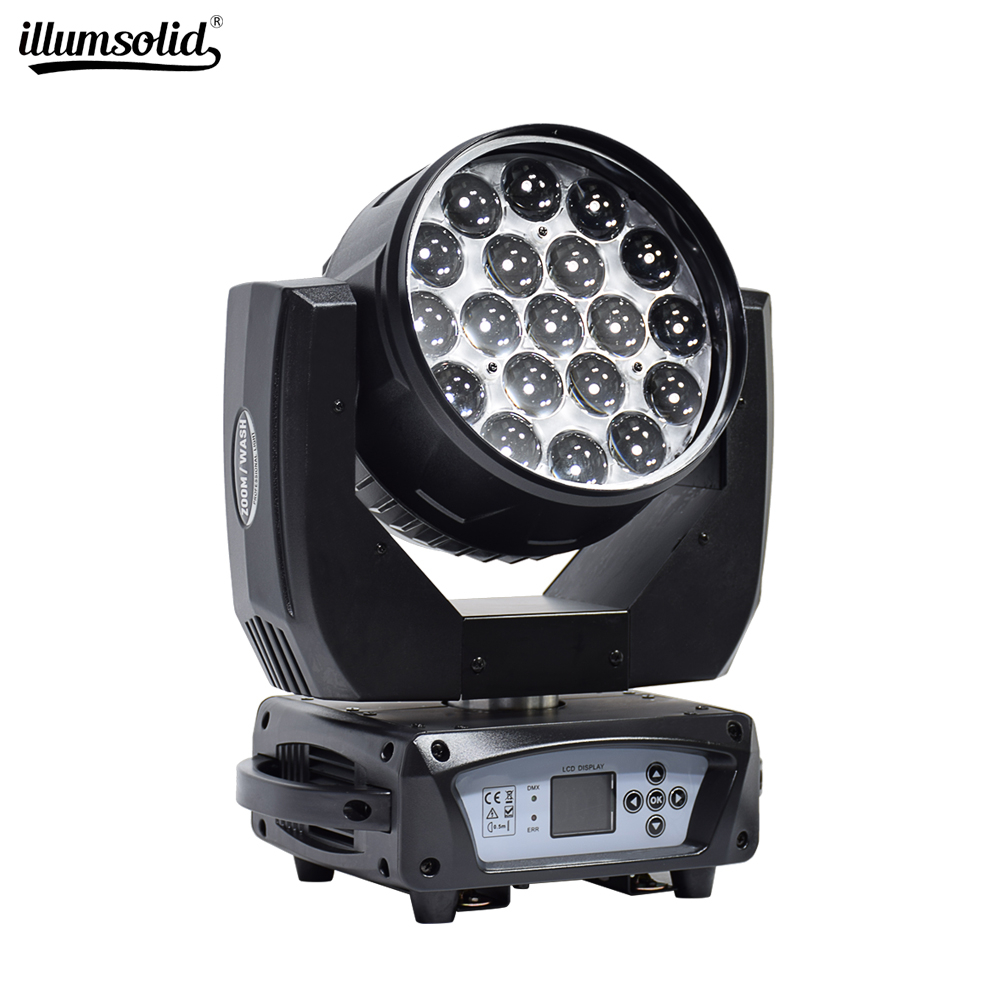 Led Wash Zoom 19x15w Rgbw Moving Head Light  Dmx512 Stage Spotlight For Dj Projection Lights