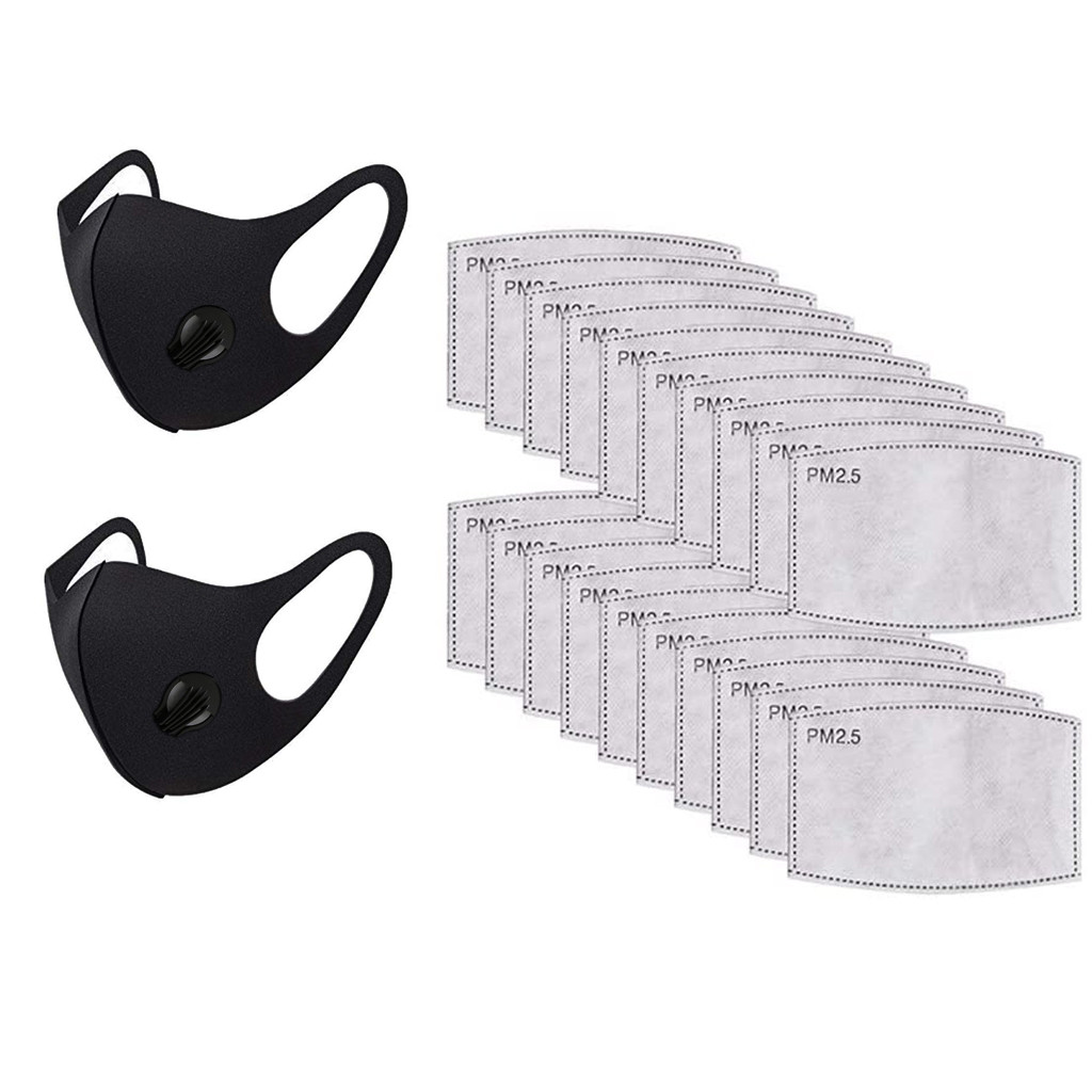 24PCs Women Reusable Washable Face Masks Smoke Dust Air Purify PM2.5 Face Mask Carbon Filter Multi Layer Mask Mascara Lavable