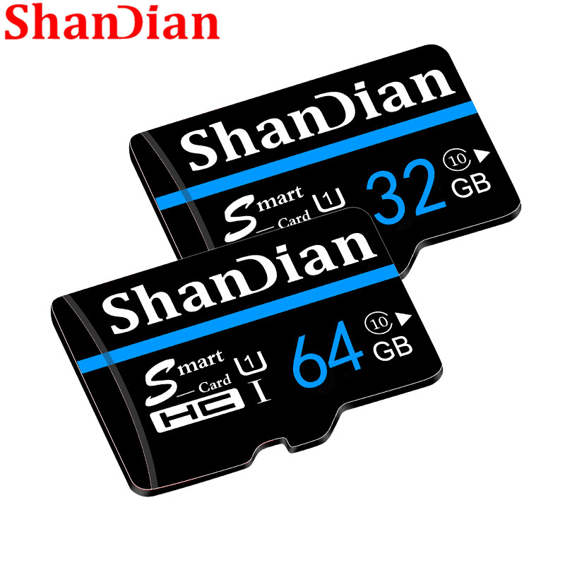 SHANDIAN Original Memory Card 64GB 32GB 16GB 8GB 4GB SD Card High Quality TF Card With Free Card Adapter + Retail Package