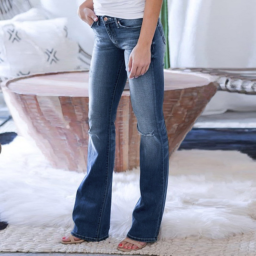 Litthing 2020 New Arrival Women's Slim Jeans Pants Fashion Show Thin Casual Ripped Jeans Female Flared Trousers Long Pants