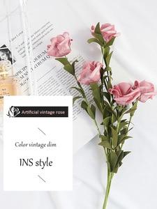Image 2 - INS Style Artificial Vintage rosa Mesa decoración flores para cosméticos vino foto de fondo fotografía foto