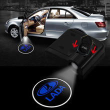 2pcs Shadow Lamp Projector Light Car Led Wireless Door Logo Light Welcome Decor Lamp Laser Atmosphere for LADA Car Light 2x auto led car led wireless door led welcome light projection lamp for renault laser buld for lada for bmw for volvo for toyota