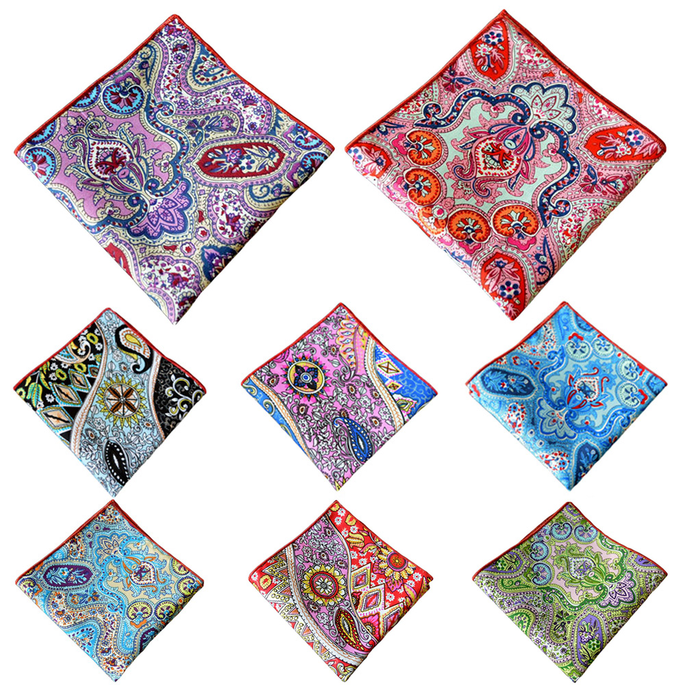 Men Colorful Floral Paisley Handkerchief Gentlemens Accessories Pocket Square