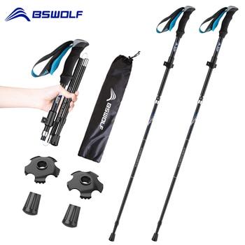 BSWOLF 2Pcs Ultralight Trekking Poles Foldable Hiking Walking Sticks Folding Aluminum Walking Pole Telescopic Stick NodicWalking недорого