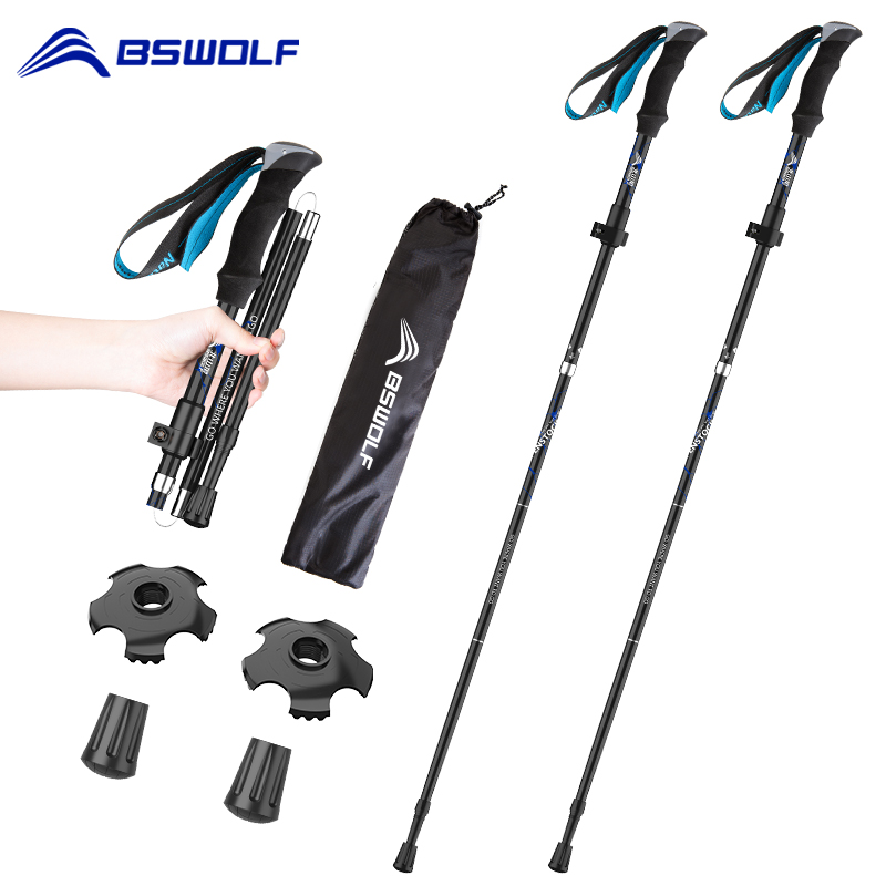 BSWOLF 2Pcs Ultralight Trekking Poles Walking Sticks Hiking Canes Folding Aluminum Walking Pole Nodic Walking Sticks