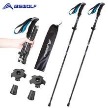 BSWOLF 2Pcs Ultralight Trekking Poles Walking Sticks Hiking Canes Folding Aluminum Walking Pole Nodic Walking Sticks