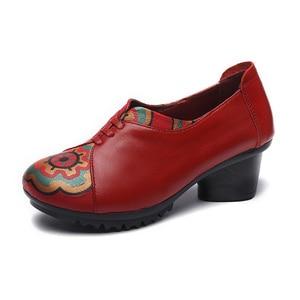 Image 3 - GKTINOO ฤดูใบไม้ผลิฤดูใบไม้ร่วงของแท้หนังส้นสูงสุภาพสตรีรองเท้าส้นสูงรองเท้า 2020 กลางส้น 4 ซม.SLIP On Elegant รองเท้าผู้หญิง