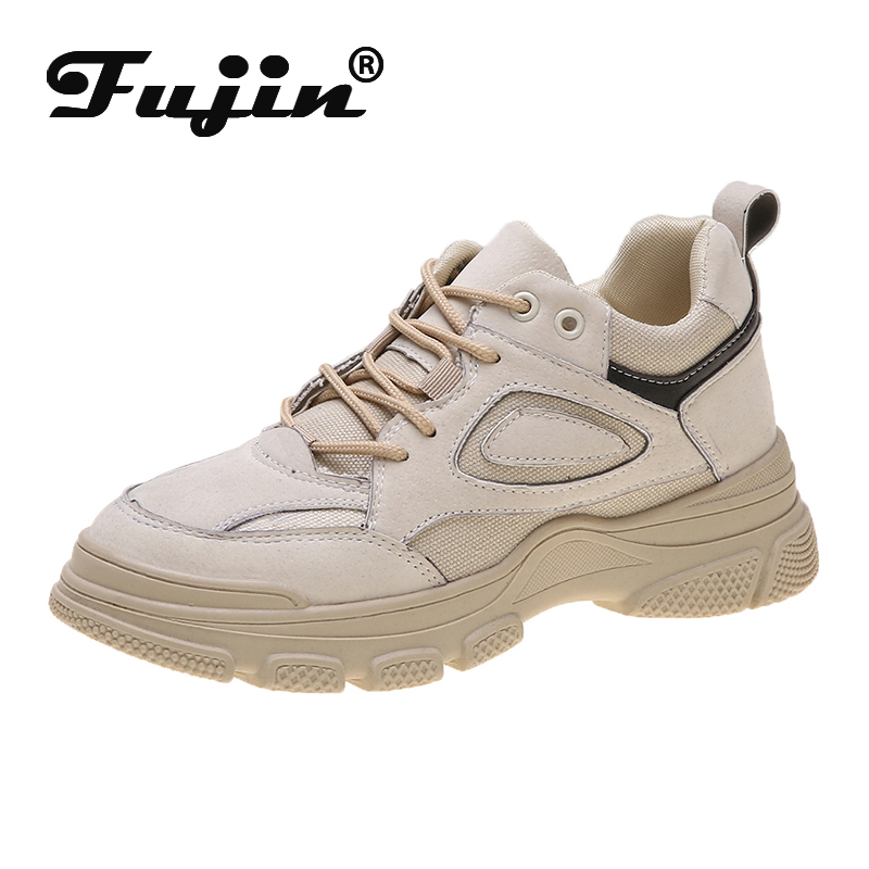 Fujin Platform Sneakers Spring Women Fashion Thick Bottom Breathable Lace Round Toe Muffin Bottom Leisure Women Shoes Sneakers
