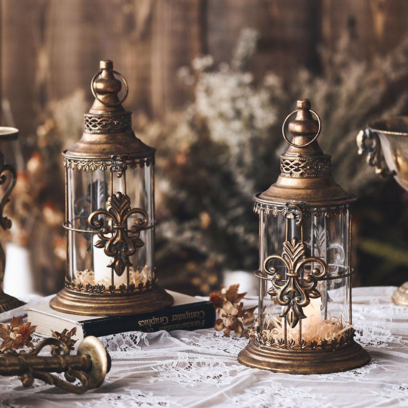 Outdoor Table Candle Holder Glass Glamour Lantern Candlestick Romantic Nordic Vintage Centros De Mesa Candlestick Glass BA60ZT