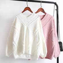 Fashion 2020 Spring Sweater Women Casual V Neck Tassel Pullover Elegant Solid Knitted Female Tops Long Sleeve Sweater Pink White(China)