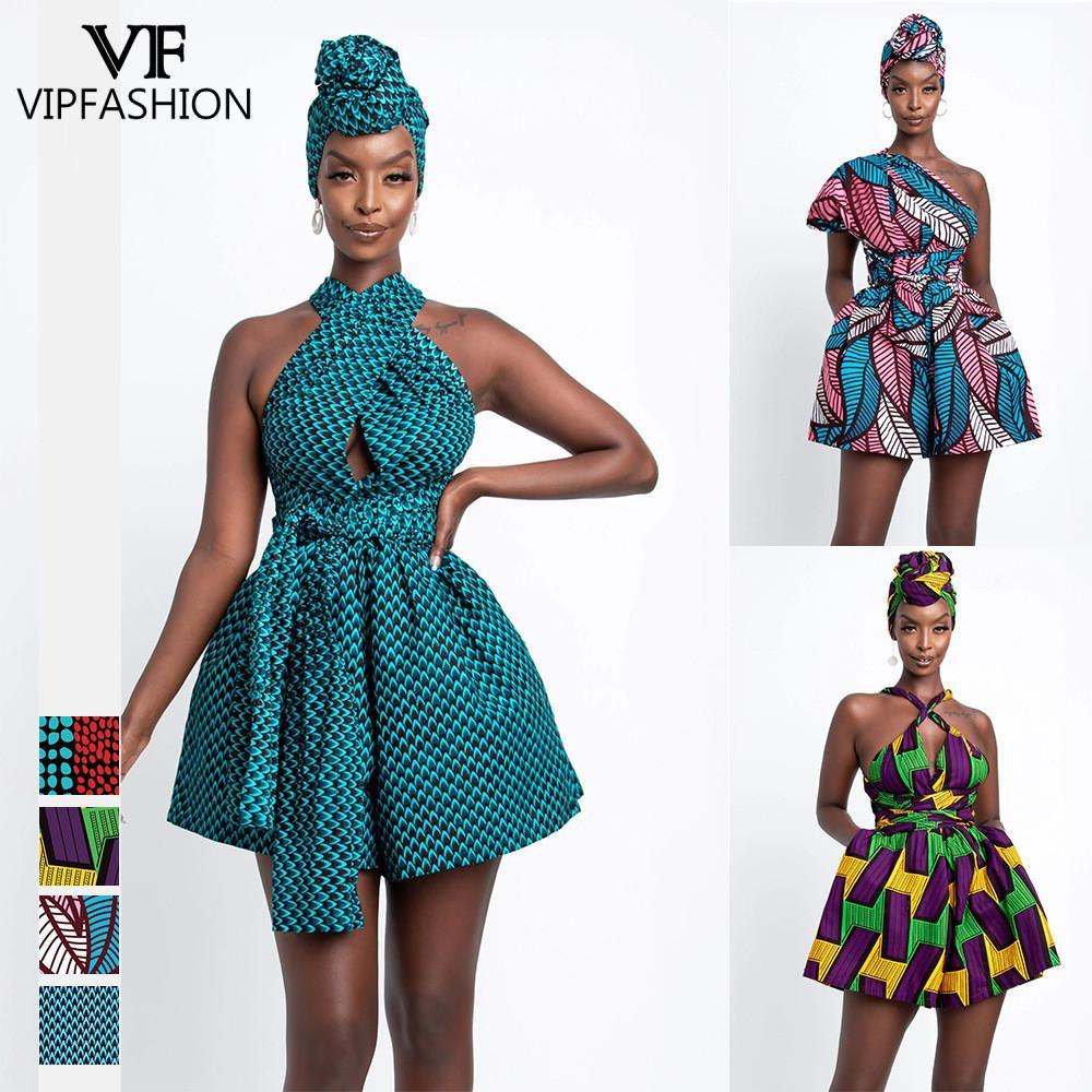 VIP FASHION Print DIY Multi-Wear One-Piece Shorts Fashion Casual Loose Culottes Street Women High Waist Short Jumpsuit Playsuits